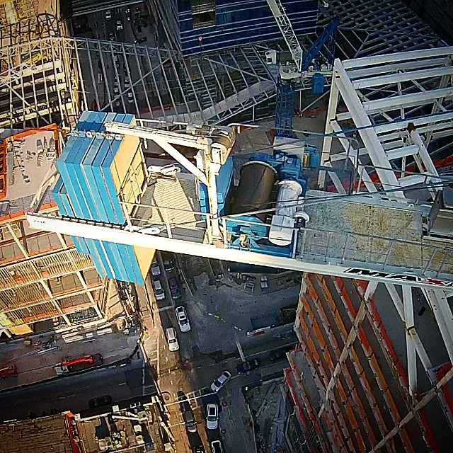 Aerial shot of a crane in downtown Miami.